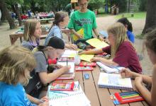 Campers sketching