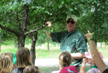 Campers learning about LLELA's turtle conservation project