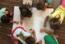 Campers making a treasure map together