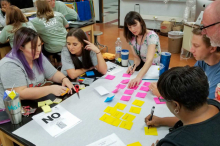 Image of participants sitting around the table and writing various ideas on sticky notes. Various supplies scattered on table, including markers, several colors of bright sticky notes, poster paper, scissors, and pens.