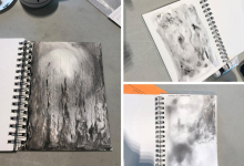 Image of three different visual journal projects that participants completed during the workshop. Each image is in black and white with a variety of shapes and designs.